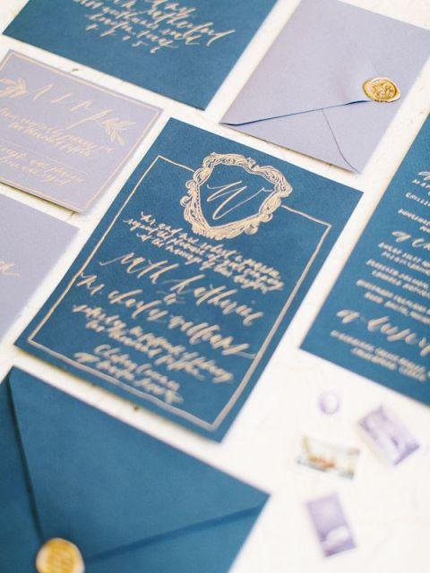 Gold and Royal Blue Calligraphy Wedding Invitations | Mint Photography | https://heyweddinglady.com/modern-jewel-tones-cobalt-berry-copper/