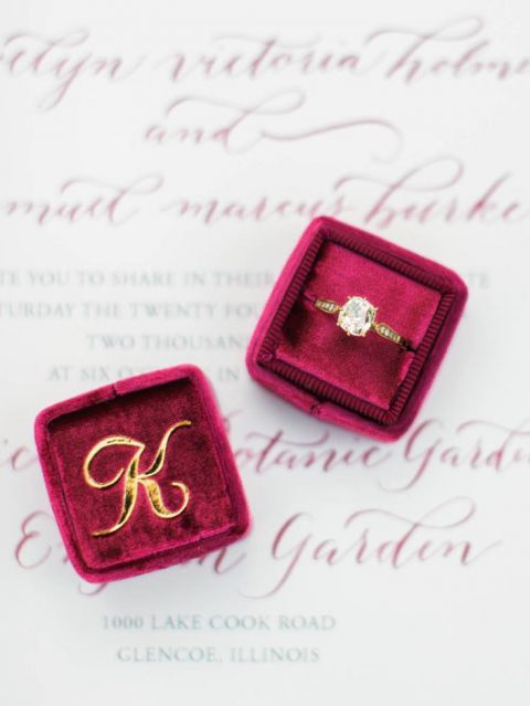 Raspberry Velvet Monogrammed Engagement Ring Box | Kristin La Voie Photography | https://heyweddinglady.com/modern-jewel-tones-cobalt-berry-copper/