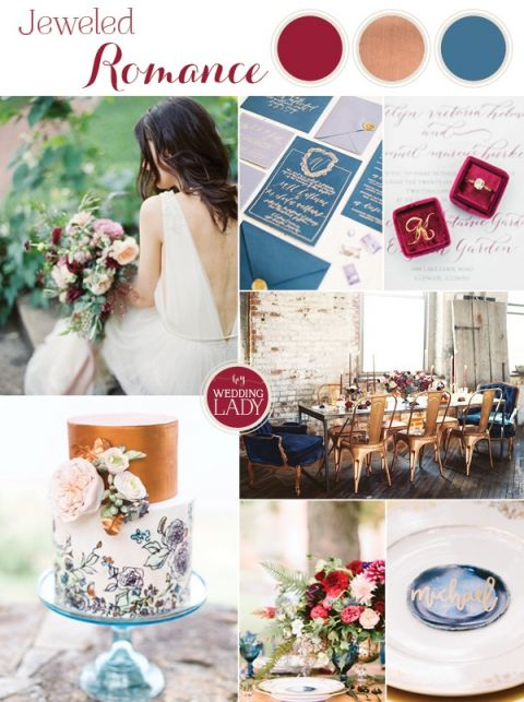 Modern Jewel Tones in Cobalt Blue, Berry, and Copper with Industrial Details - https://heyweddinglady.com/modern-jewel-tones-cobalt-berry-copper/