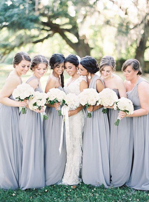 Wedding And Bridesmaids Dresses 43 Fancy Floor Length Gray Bridesmaids
