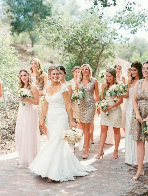 Bridesmaid Wedding Dresses 79 Vintage Mismatched Metallic Bridesmaids Dresses