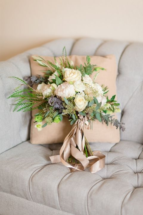 Green, White, and Cream Winter Bouquet | Gavin Farrington Photography | Event Design and Styling by Glow Event Design - https://heyweddinglady.com/winter-chic-intimate-holiday-wedding-cozy-neutrals-2