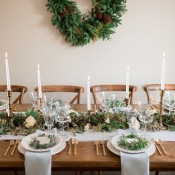 Neutral Winter Wedding Inspiration with Festive Greenery and Gold Details | Gavin Farrington Photography | Event Design and Styling by Glow Event Design - http://heyweddinglady.com/winter-chic-intimate-holiday-wedding-cozy-neutrals