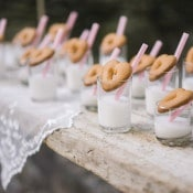 Heart Shaped Cookies and Milk Station | Alexis Rose Photography | https://heyweddinglady.com/fine-art-italy-tuscan-destination-wedding-olive-grove/
