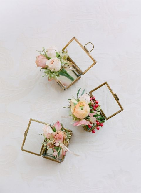 Individual Boutonnieres in Fresh Spring Colors | Jose Villa Photography | https://heyweddinglady.com/wild-heart-carefree-bohemian-wedding-peach-sage/