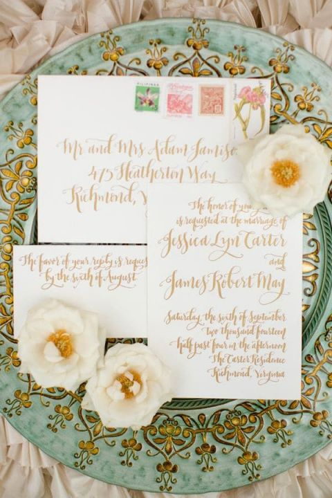 Copper and Sage Metallic Wedding Details | Katelyn James Photography | https://heyweddinglady.com/wild-heart-carefree-bohemian-wedding-peach-sage/