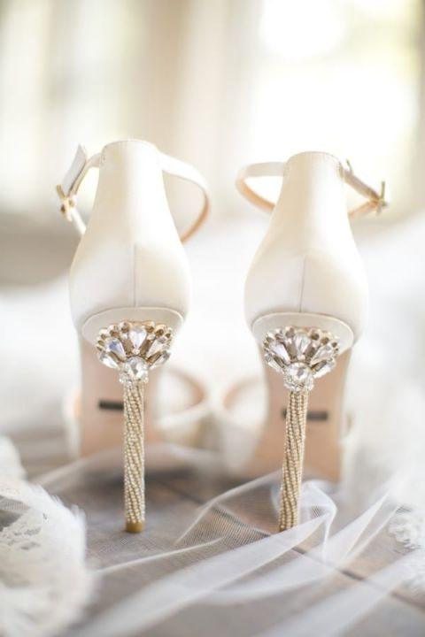 White and Gold Jeweled Wedding Shoes | Brianna Wilbur Photography - https://heyweddinglady.com/whimsical-glam-wedding-inspired-hayley-paige