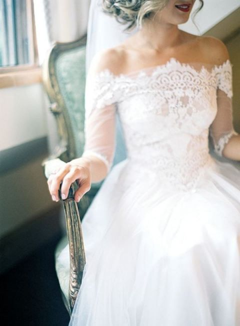 Intricate Boatneck Wedding Dress with Off the Shoulder Lace Sleeves | Byron Loves Fawn Photography | Hey Wedding Lady Picks for a Fabulous 2016 Wedding! - https://heyweddinglady.com/hey-wedding-ladys-picks-fabulous-2016-wedding/