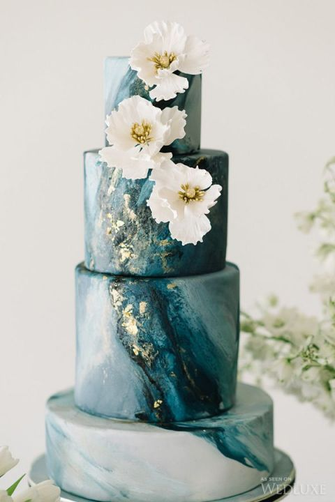 Dark Teal and Gold Marble Wedding Cake | Tara McMullen Photography | The Gilded Age - A Dark Romance Wedding - https://heyweddinglady.com/gilded-age-dark-romance-wedding/