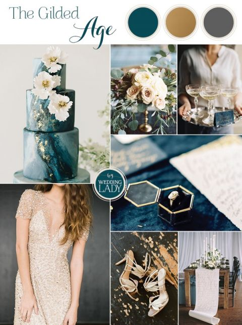 The Gilded Age - A Dark Romance Wedding in Teal, Charcoal Gray, and Elegant Gold Leaf - https://heyweddinglady.com/gilded-age-dark-romance-wedding/