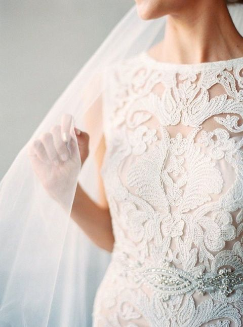 Textured Lace Wedding Dress | Melissa Jill Photography - https://heyweddinglady.com/unforgettable-sensory-wedding-inspiration/