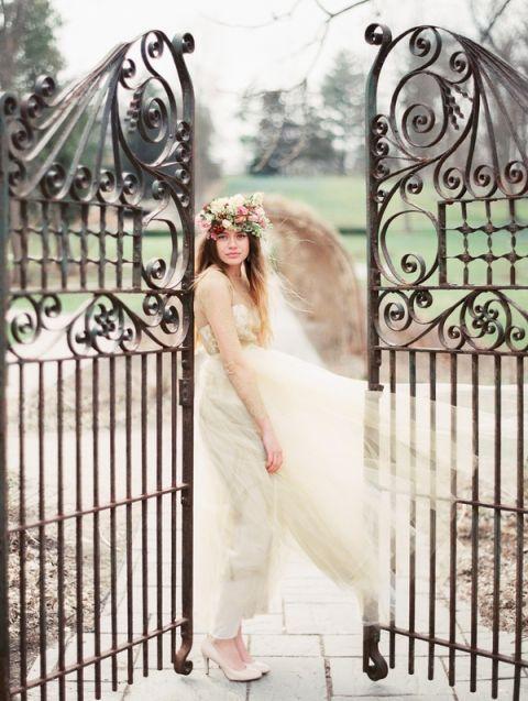 e4219b26fce A Winter Garden Bridal Shoot with a Gold Wedding Dress
