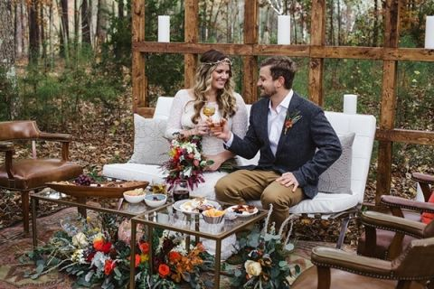 Colorful bohemian wedding in the fall hey wedding lady a private toast with the bride and groom soul child photography https junglespirit Image collections