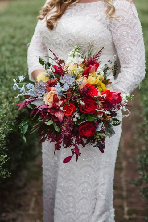 Gorgeous Modern Fall Bouquet | Soul Child Photography | http://heyweddinglady.com/colorful-bohemian-wedding-fall/