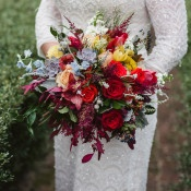 Gorgeous Modern Fall Bouquet | Soul Child Photography | https://heyweddinglady.com/colorful-bohemian-wedding-fall/