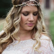 Beaded Lace Wedding Dress with a Bridal Headpiece | Soul Child Photography | http://heyweddinglady.com/colorful-bohemian-wedding-fall/