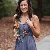Lilac Gray Bridesmaid Dress with Pops of Orange | Soul Child Photography | https://heyweddinglady.com/colorful-bohemian-wedding-fall/