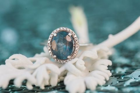 Blue Topaz Engagement Ring