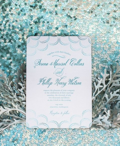 Iridescent Mermaid Inspired Wedding Invitation