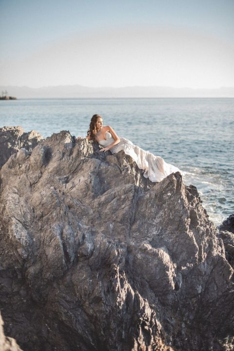Glamorous Mermaid Bride on the Coast
