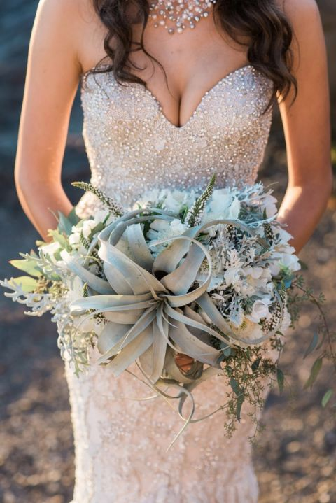 Stephen Yearick Wedding Gowns 33 Vintage Succulent Bouquet with a