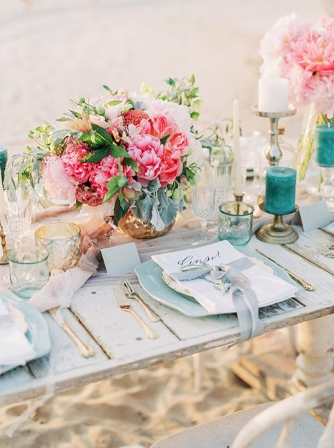 Coral and Aqua Beach Wedding with Peonies and Sea Glass | Lauren Fair Photography| https://heyweddinglady.com/tropical-beach-glam-bahamas-wedding-sparkling-gold-pink/
