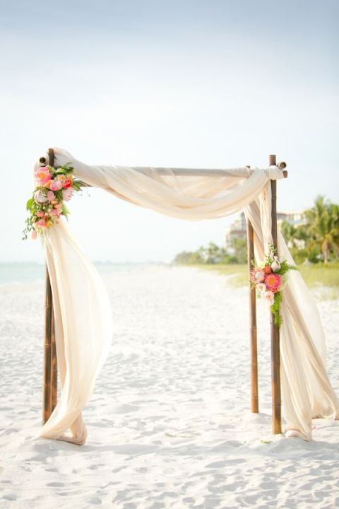 Elegant Draped Beach Ceremony Backdrop | Set Free Photography| https://heyweddinglady.com/tropical-beach-glam-bahamas-wedding-sparkling-gold-pink/