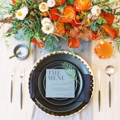 Luxe Modern Place Setting with Gorgeous Fall Details | Allen Tsai Photography | https://heyweddinglady.com/edgy-modern-wedding-dramatic-blood-orange-black/