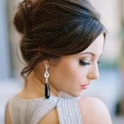 Chic Bridal Hairstyle with Dramatic Onyx Earrings | Allen Tsai Photography | http://heyweddinglady.com/edgy-modern-wedding-dramatic-blood-orange-black/