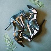 Jeweled Black Bridal Shoes | Allen Tsai Photography | http://heyweddinglady.com/edgy-modern-wedding-dramatic-blood-orange-black/
