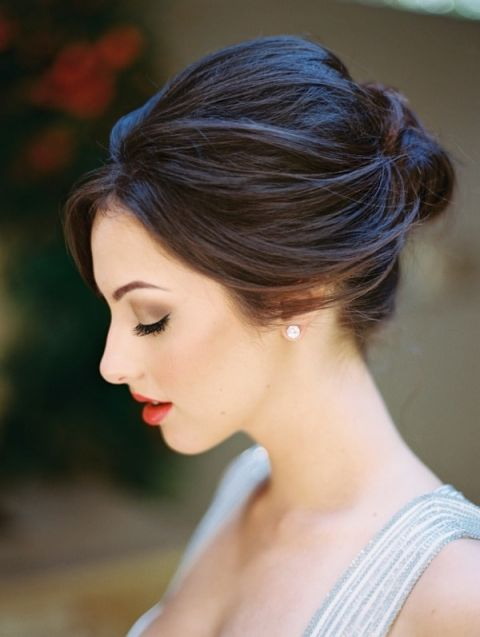 Gorgeous Bridal Updo with a Dramatic Lip