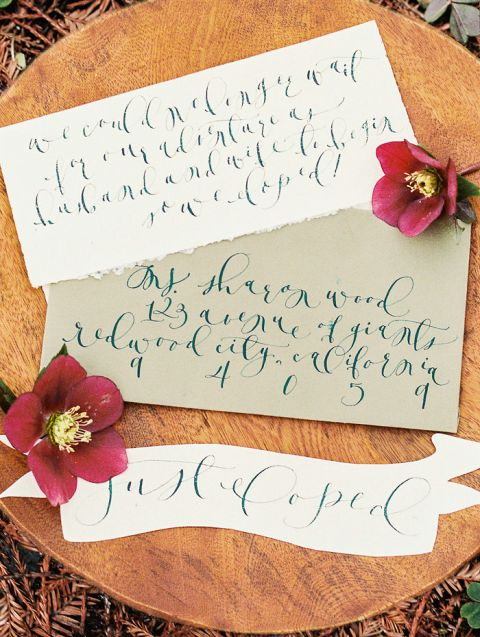 Elegant Calligraphy Wedding Invitation with Rich Purple Hellebores   Perry Vaile Photography   https://heyweddinglady.com/fine-art-adventure-loving-redwood-elopement/