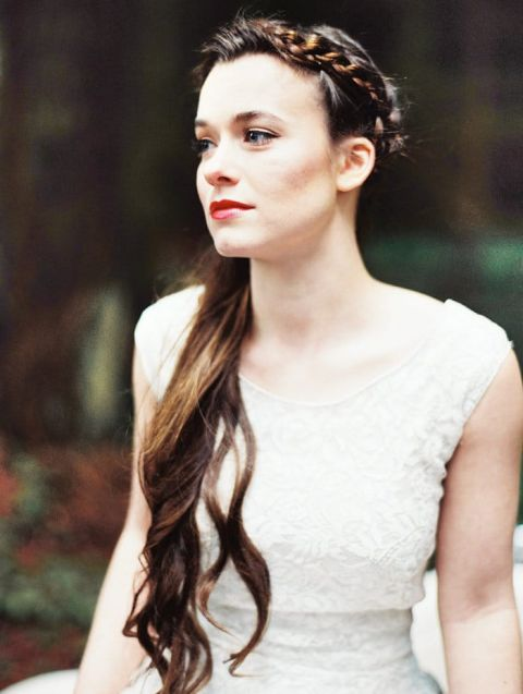 Long Bridal Hairstyle with a Braided Crown | Perry Vaile Photography | https://heyweddinglady.com/fine-art-adventure-loving-redwood-elopement/