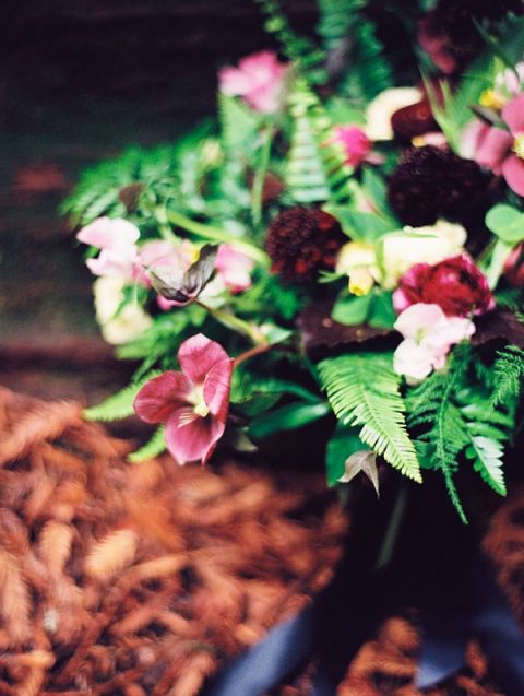 Hellebore and Fern Bouquet | Perry Vaile Fine Art Film Photography | http://heyweddinglady.com/moody-misty-beach-engagement-shoot/