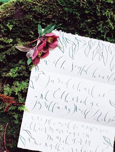 Keepsake Calligraphy Vows | Perry Vaile Fine Art Film Photography | http://heyweddinglady.com/moody-misty-beach-engagement-shoot/