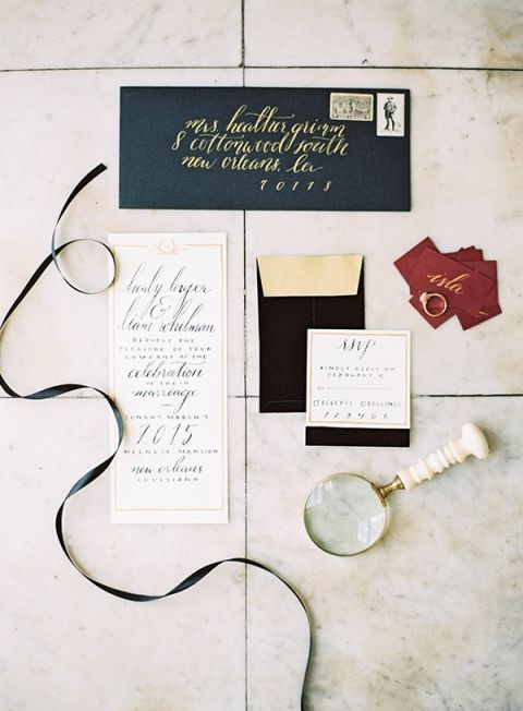 Elegant Black and Gold Invitation Suite with Pops of Marsala