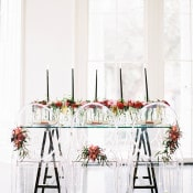 Modern Wedding Reception with Ghost Chairs and Dramatic Black and Berry Details | Marissa Lambert Photography | http://heyweddinglady.com/modern-southern-glamour-preppy-stripes/