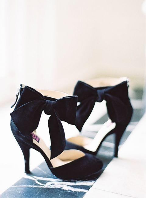 Black Velvet Bow Heels