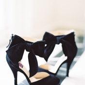 Ankle Bow Heels in Black Velvet | Marissa Lambert Photography | http://heyweddinglady.com/modern-southern-glamour-preppy-stripes/