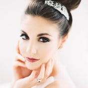 Dramatic Bridal Makeup with a Glam Updo | Marissa Lambert Photography | https://heyweddinglady.com/modern-southern-glamour-preppy-stripes/