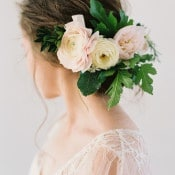Romantic Bridal Updo with a Delicate Floral Headpiece | Heather Hawkins Photography | https://heyweddinglady.com/floral-romance-blush-peonies-spring-wedding/