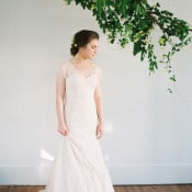 Sweet Lela Rose Lace Wedding Dress | Heather Hawkins Photography | https://heyweddinglady.com/floral-romance-blush-peonies-spring-wedding/