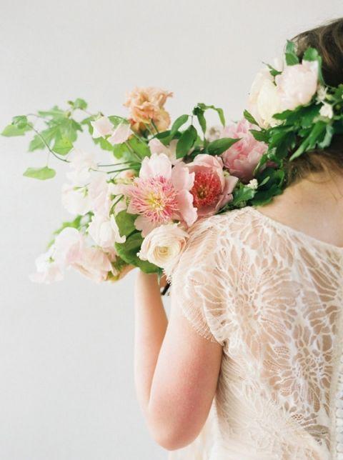 Lace Wedding Dress with a Blush Peony Bouquet
