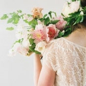 Lace Wedding Dress with a Blush Peony Bouquet | Heather Hawkins Photography | http://heyweddinglady.com/floral-romance-blush-peonies-spring-wedding/