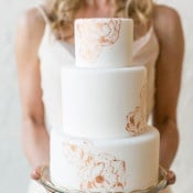 White and Rose Gold Wedding Cake | Bridesmaid Dresses from Brideside | Styling by Aisle Society | Photography by Emilia Jane | https://heyweddinglady.com/chic-mix-match-bridesmaid-dresses-brideside/