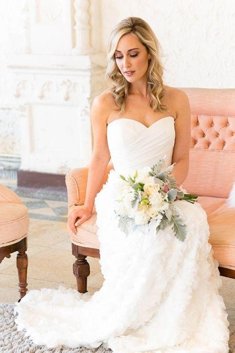 Romantic Ruffled Wedding Dress | Bridesmaid Dresses from Brideside | Styling by Aisle Society | Photography by Emilia Jane | https://heyweddinglady.com/chic-mix-match-bridesmaid-dresses-brideside/