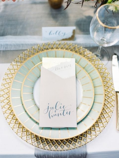 Classic Gold and Green Place Setting | Krista A. Jones Photography | https://heyweddinglady.com/mixed-metallic-muted-elegance-wedding-greyed-jade-gold/
