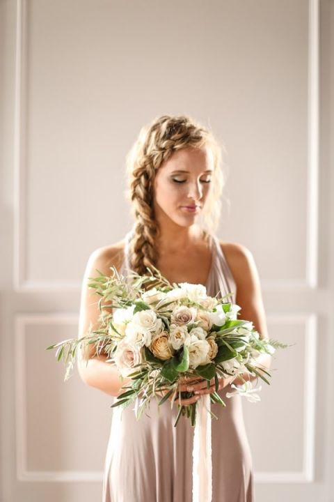 Relaxed and Romantic Bride with a Braided Crown and Neutral Bouquet | SLF Weddings | https://heyweddinglady.com/intimate-love-story-engagement-blush-taupe-gold/