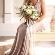 Champagne Silk Wedding Dress with a Neutral Bouquet | SLF Weddings | http://heyweddinglady.com/intimate-love-story-engagement-blush-taupe-gold/