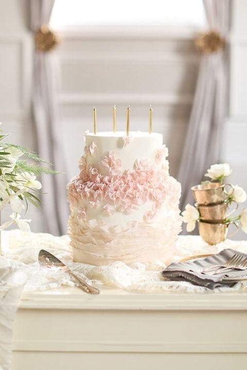 Blush Ruffled Cake With Gold Candles Slf Weddings Https Heyweddinglady